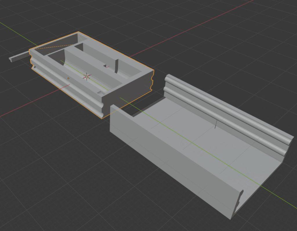 3D-Editor, der eine Schiebebox zeigt